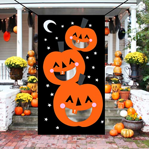 KOMIWOO Pumpkin Bean Bag Toss Games with 3 Bean Bags, Kids Halloween Party Games Halloween Decorations ()