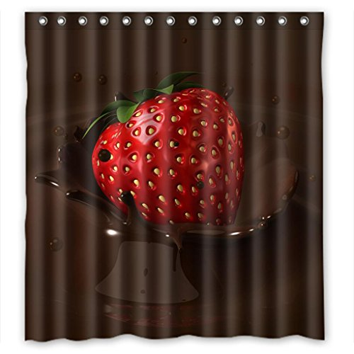 Sweet Chocolate Strawberry High Quality Waterproof Shower Curtain Measure 66
