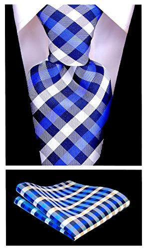 Gingham Plaid Ties for Men - Woven Necktie & Pocket Square - Navy Blue and Royal ()