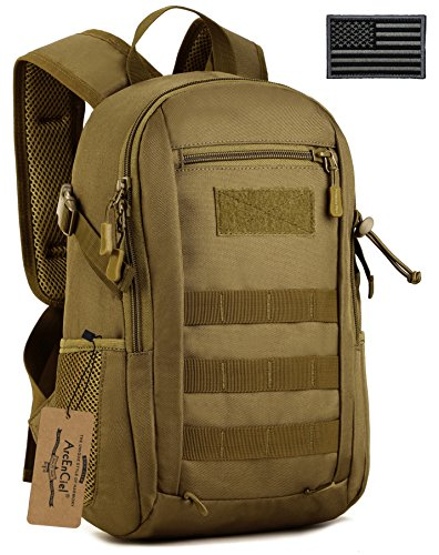 ArcEnCiel Tactical Backpack Military MOLLE Daypack Gear Assault Pack Camping Bag (Coyote Brown)