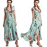 Women Tunic Tops Dresses Lady Floral Button Split