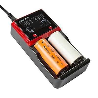 BONUSIS Universal AA AAA C, Ni-MH Ni-Cd and 10440 18650 26650 Etc. Li-ion LiFePO4 Rechargeable Battery Charger with LCD Display.
