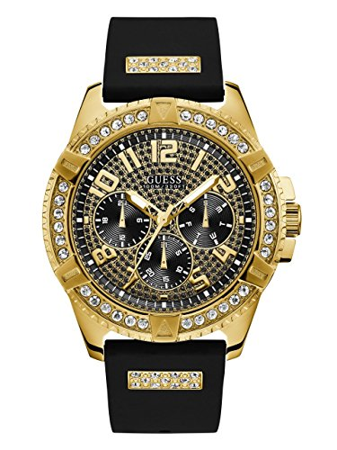 - GUESS  Comfortable Gold-Tone Black Stain Resistant Silicone Watch with Crystal Embellished Day, Date + 24 Hour Military/Int'l Time. Color: Black (Model: U1132G1)