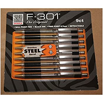 Zebra F-301 Ballpoint Retractable Pen, Black Ink, Fine Point Tip, 9 Pens per Pack Refillable Pens with Refill 0.7 mm Stainless Steel