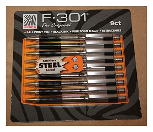 - Zebra F-301 Ballpoint Retractable Pen, Black Ink, Fine Point Tip, 9 Pens per Pack Refillable Pens with Refill 0.7 mm Stainless Steel