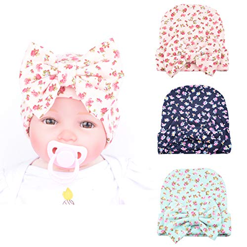 DRESHOW BQUBO Newborn Hospital Hat Infant Baby Hat Cap Big Bow Nursery Beanie 3 Pack