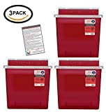 3 PACK Sharps Container 5 Quart with Mailbox Style Lid - Plus Vakly Biohazard Disposal Guide