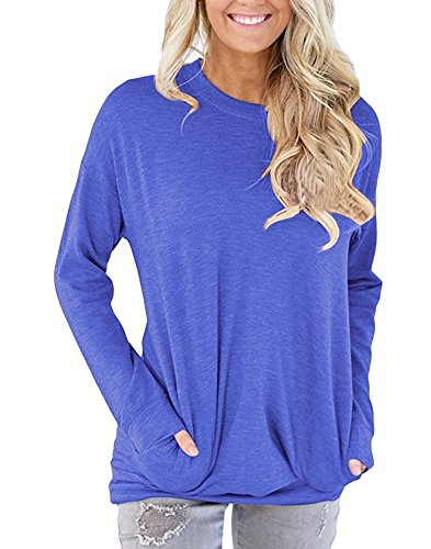 Camisunny Fashion Crew Neck Tunic Tops for Fall Winter to Wear with Leggings Long Sleeve Shirts Blouse Size XL