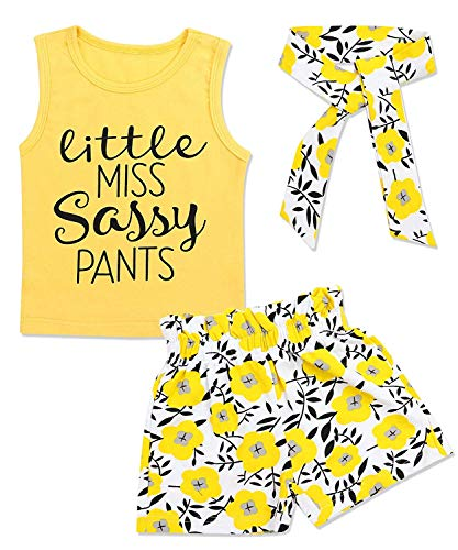 Newborn Baby Girls Clothes Floral Sleeve Romper+ Floral Short Pant 2pcs Summer Outfit (Yellow 3, 18-24 Months) (Infant Fashion)