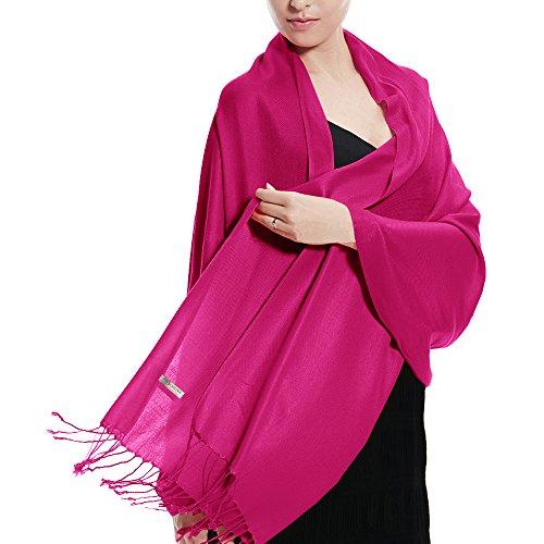 Pashmina Wedding Large Soft Plain Shawl/Wrap/Scarf for Women (Hot Pink)