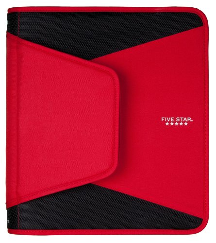 """Five Star 1.5"""" Zipper Binder, 12.75 x 11.25 x 1 Inches, Red (72206)"""