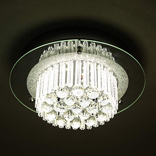 - Horisun LED Ceiling Light Crystal Chandelier 1980LM Dimmable Flush Mount Light with Modern Crystal Raindrop Pendant Lamp apply to Dining Room, Bedroom, Living Room, ETL Listed, 5 Years Warranty