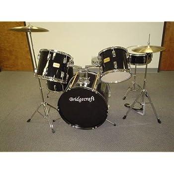 bridgecraft derosa 5 pc drum set with cymbals black musical instruments. Black Bedroom Furniture Sets. Home Design Ideas