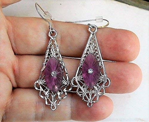Vintage Amethyst CAMPHOR GLASS Earrings Lovely Art Deco with Vintage Diamond Cut Sterling Filigree Pierced Fish Hooks.