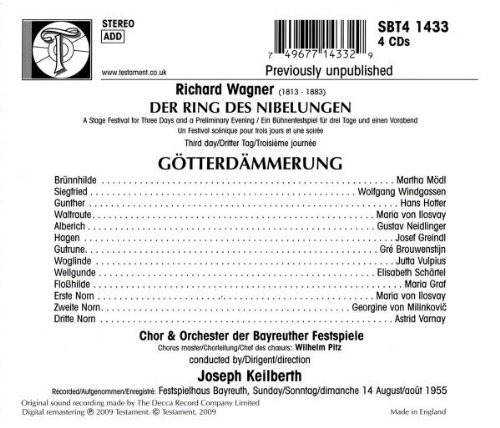 Wagner: Götterdämmerung (August 14, 1955) by Testament UK