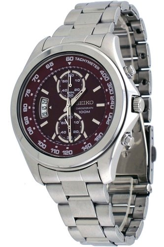(Seiko Red Dial Chronograph Stainless Steel Mens Watch SNN253 )