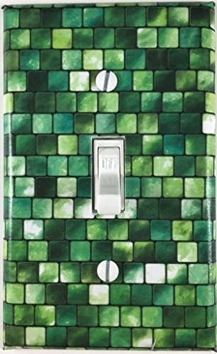 Green Tiles Single Decorative Single Toggle Light Switch Plate Cover