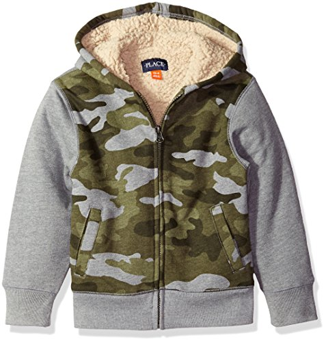 (The Children's Place Boys' Little' Colorblocked Sherpa Lined Hoodie, Shale, Small/5/6)