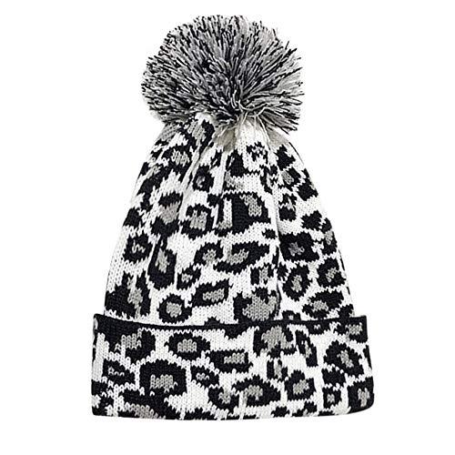 Adult Women Men Winter Leopard Crochet Hat Knit Hat Beanie Hairball Warm Cap by Teresamoon ()