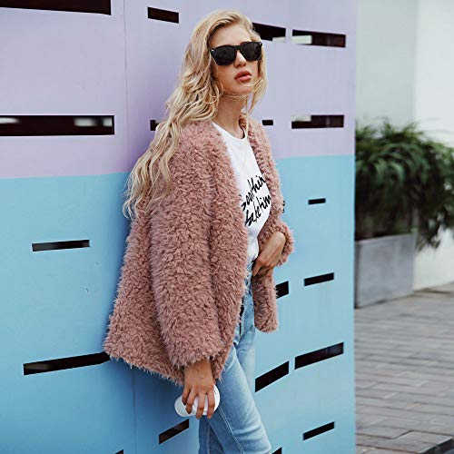 Cuello Largas Parka Ropa Plush Color Invierno Slim Mujer Para Sintética Abrigo Piel Chaqueta De Liso Beautyjourney Con Redondo Y Mangas Rosa Corta OwvqYaxg