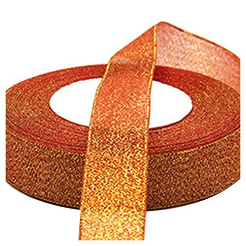 SODIAL(R) 22 Metres 25mm Double Sided Satin Glitter Ribbons Bling Bows Reels Wedding Gold