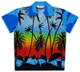 Alvish Hawaiian Shirts 42B Boys Coconut Beach Aloha Party Camp Light Blue M