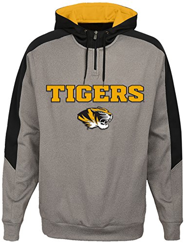 OuterStuff NCAA Missouri Tigers Youth Boys Illustrious 1/4 Zip Hoodieed Jacket, Large(14-16), Light Charcoal (Missouri Light)