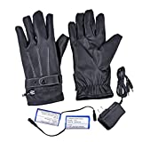 Gimilife Leather Gloves with Rechargeable Li-ion Battery Heated for Men and Women, Touchscreen Waterproof Warm Gloves for Cycling Motorcycle Hiking Skiing Mountaineering