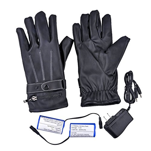 Gimilife Leather Gloves with Rechargeable Li-ion Battery Heated for Men and Women, Touchscreen Waterproof Warm Gloves for Cycling Motorcycle Hiking Skiing Mountaineering (Heated Cycle Gloves compare prices)