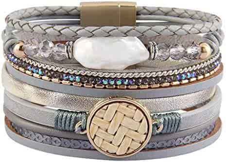 101aad77972 Jenia Leather Wrap Around Bracelet Multi Rope Boho Bracelets Cuff Bracelets  Baroque Pearls Handmade Bohemian Jewelry