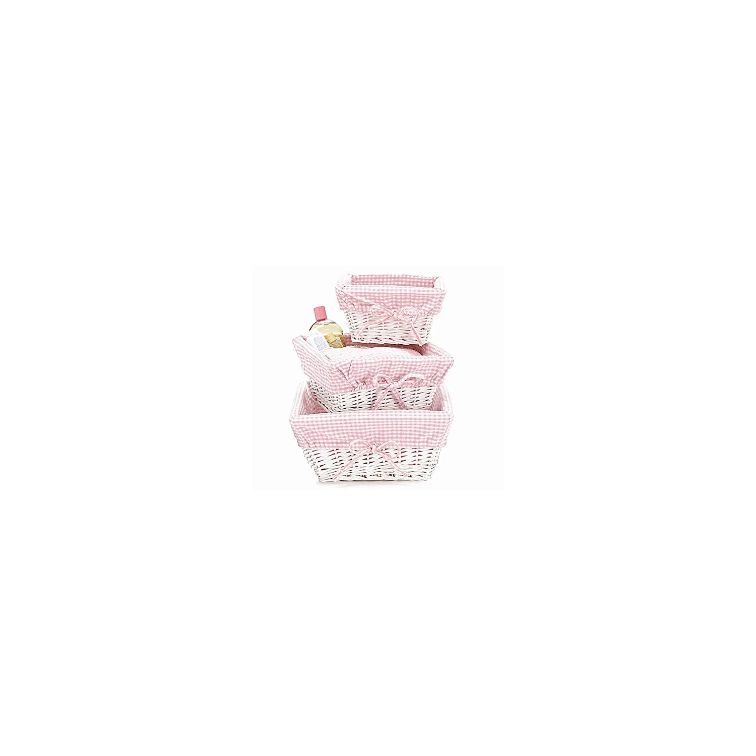 White Wicker Baby Girl Nursery Storage Baskets, Set of 3, Pink Gingham