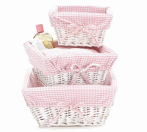 - White Wicker Baby Girl Nursery Storage Baskets, Set of 3, Pink Gingham