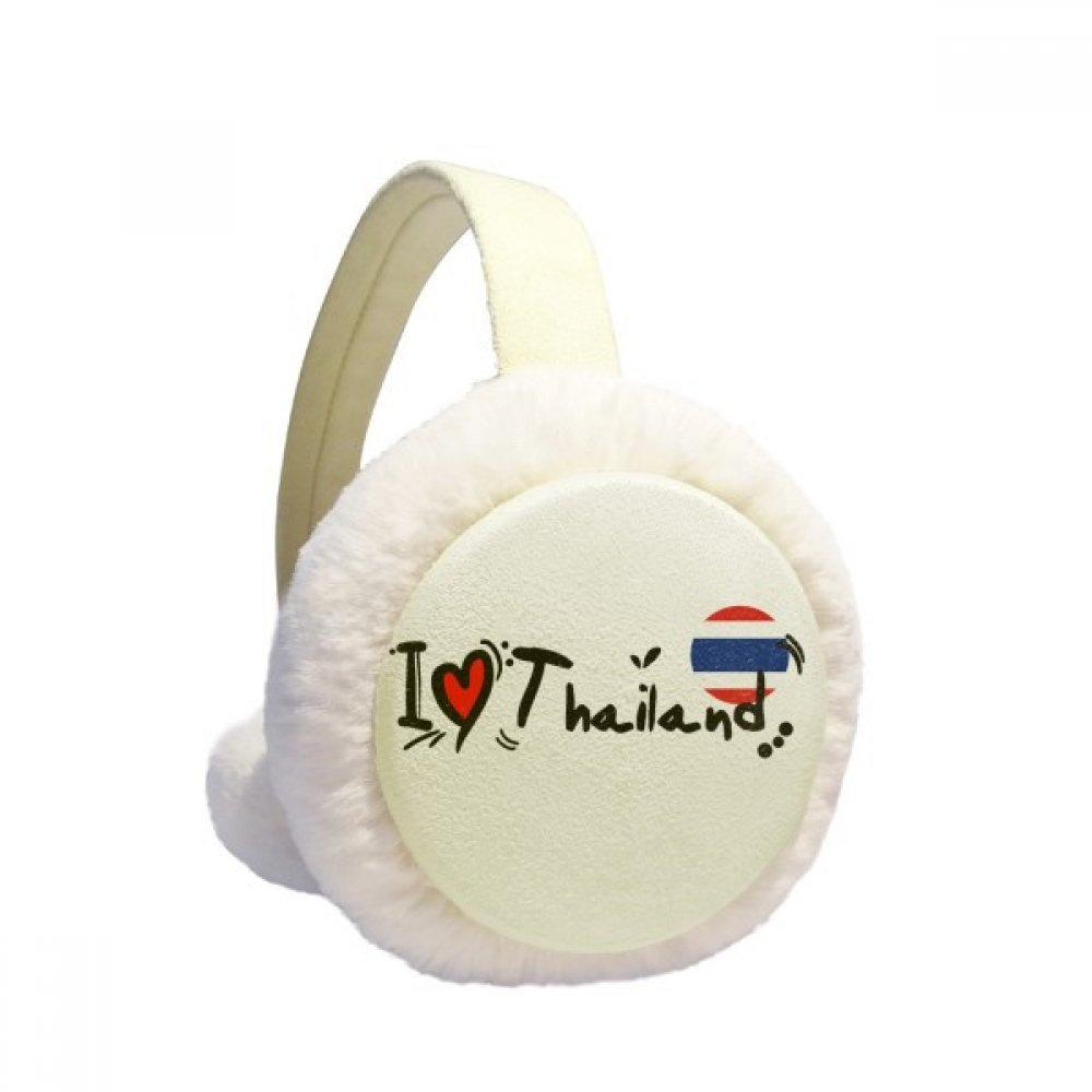 I Love Thailand Word Flag Love Heart Illustration Winter Earmuffs Ear Warmers Faux Fur Foldable Plush Outdoor Gift