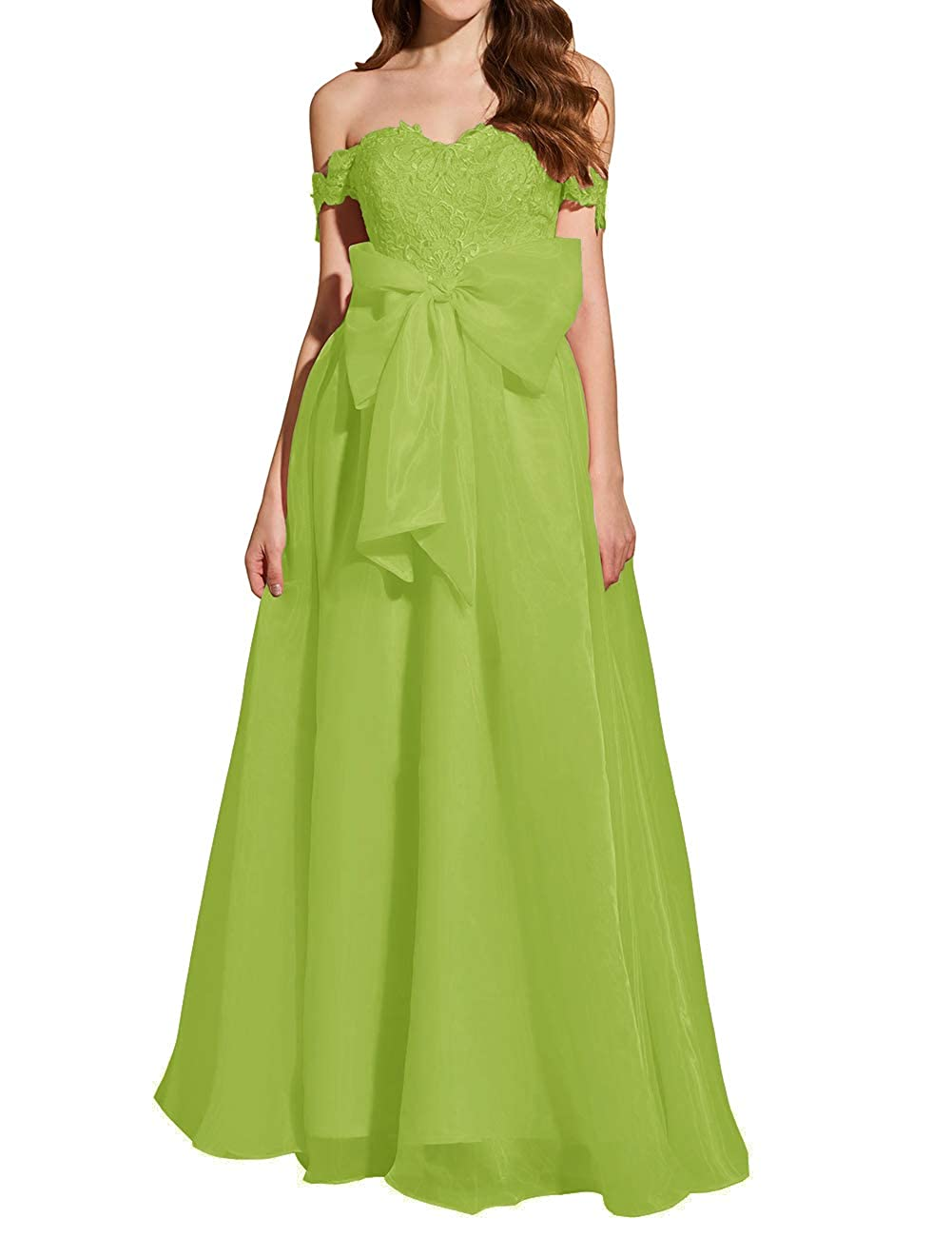 Lime Green Uther Formal Prom Dresses Off The Shoulder Appliques Long Evening Party Gowns Organza
