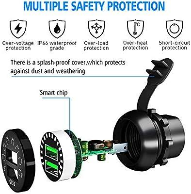 USB de Cargador QC3.0 Cargador R/ápida de Dos Puertos USB con Indicador LED Color para Coches Motos Motocicleta o Barco Kriogor Cargador de Coche Impermeable