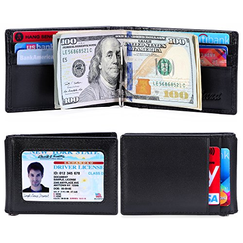 Money Bill Clip Wallet (Kinzd RFID Blocking Wallet for Men - Genuine Leather Slim Bifold Front Pocket Wallet with Money Clip)