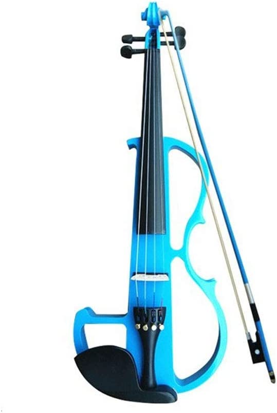 Adultos 4/4 Arce De Madera Sólida Mudo Con Arco Violín Eléctrico De 4 Cuerdas, Cable De Audio De Resina De Audífono De Sintonizador De Cáscara Dura (color : Azul)