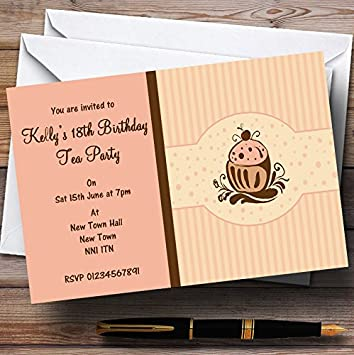 Chocolate Cupcake Vintage Tea Party Invitations