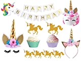 Bestus Unicorn Birthday Party Set/ Handmade Gold Unicorn Horn Cake Topper with unicorn cupcake toppers and happy birthday banner/ Unicorn Party Decoration for baby shower,wedding and birthday party