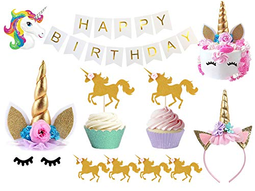 Bestus Unicorn Birthday Party Set/ Handmade Gold Unicorn Horn Cake Topper with unicorn cupcake toppers and happy birthday banner/ Unicorn Party Decoration for baby shower,wedding and birthday party by Bestus