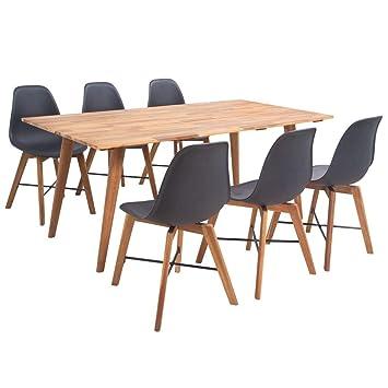 Vidaxl Essgruppe 7 Tlg Schwarz Kuchentisch Esszimmer Tisch Stuhl