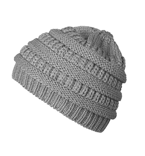 Luxina Winter Warm Chunky Soft Stretch Cable Knit Hat Daily Slouchy Beanie Hats Skull Cap Light Grey - Womens Knit Cap