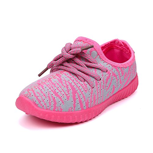Hawkwell Kids Breathable Lace-up Sneaker(Toddler/Little Kid),Pink/Grey Fabric,10 M US