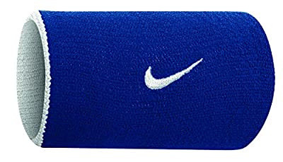 Nike Dri-fit Home & Away Doublewide Wristbands (1 Pair, OSFM, Varsity Royal/White)