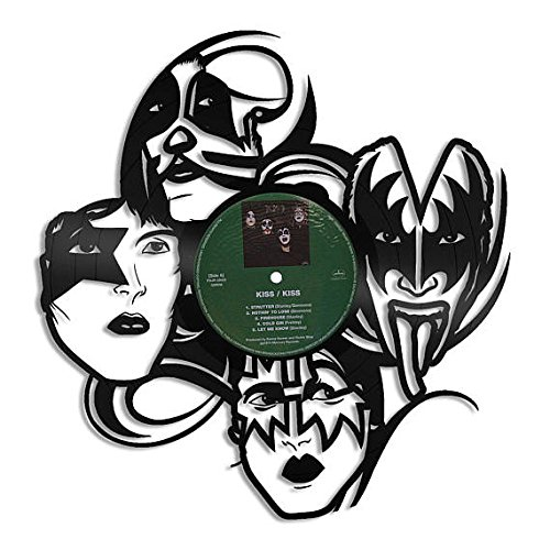 VinylShopUS - Kiss Vinyl Wall Art Vintage Record Musician Band   Musical Fan lover Gifts for Him   Decoration Living Room (Band Records)
