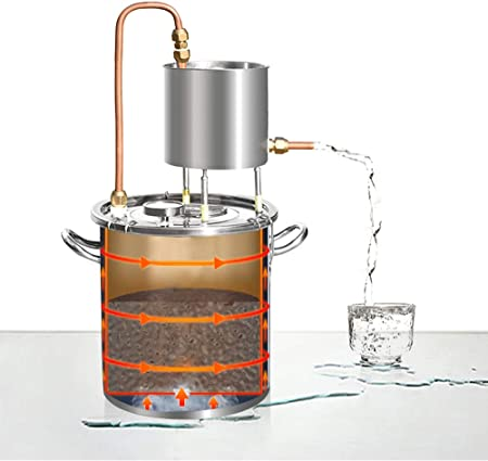 YUEWO Moonshine Still Alembic Spirits Kit Caldera de vinificación con Bomba de termómetro destilador de Aceite Esencial de Alcohol para Whisky Brandy Vodka 304 Acero Inoxidable (12L)