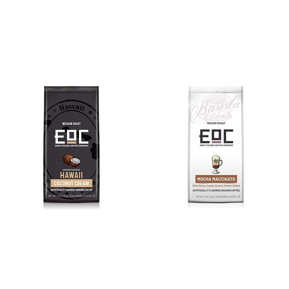 Eight O'Clock Coffee Flavors of America Ground Coffee, Hawaii Coconut Cream, 11 Ounce & Barista Blends Ground Coffee, Mocha Macchiato, 11 Ounce