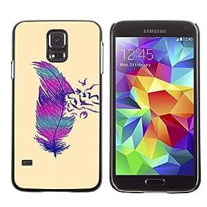 X-ray Impreso colorido protector duro espalda Funda piel de Shell para SAMSUNG Galaxy S5 V / i9600 / SM-G900F / SM-G900M / SM-G900A / SM-G900T / SM-G900W8 - Feather Birds Minimalist Art Pink Teal