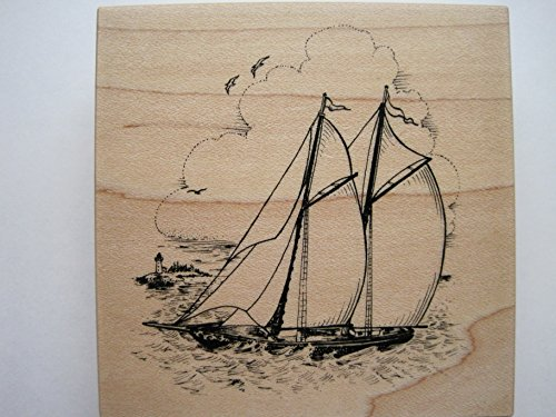 Rubber Stamp with Sailboat Design ()