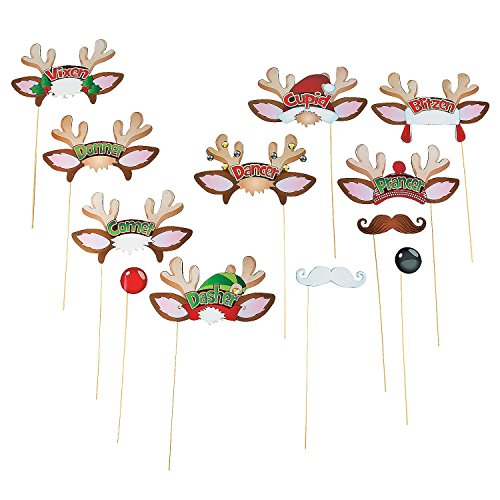 Santa's Reindeer Christmas Party Photo Booth Stick Props - 12 pcs